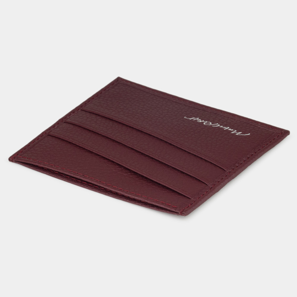 Картхолдер-визитница Carte Easy из натуральной кожи теленка, бордового цвета