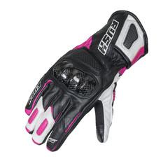 Мотоперчатки кожаные RUSH IMPULSE LADY, черный/белый/розовый