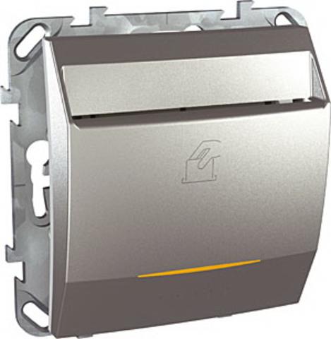 Карточный выключатель с подсветкой. Цвет Алюминий. Schneider electric Unica Top. MGU5.540.30ZD