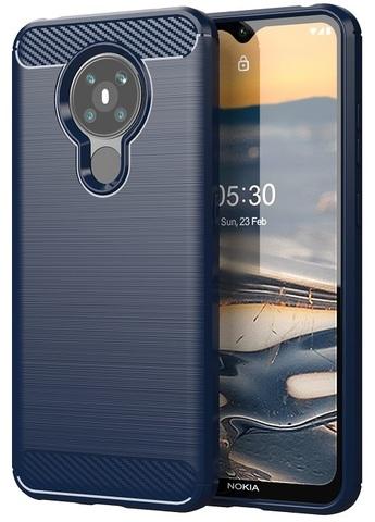 Чехол темно-синего цвета на Nokia 5.3, стиль под карбон, серия Carbon от Caseport