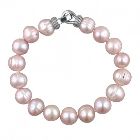01Б351963-3- Браслет из серебра с розовым жемчугом (пресноводный)