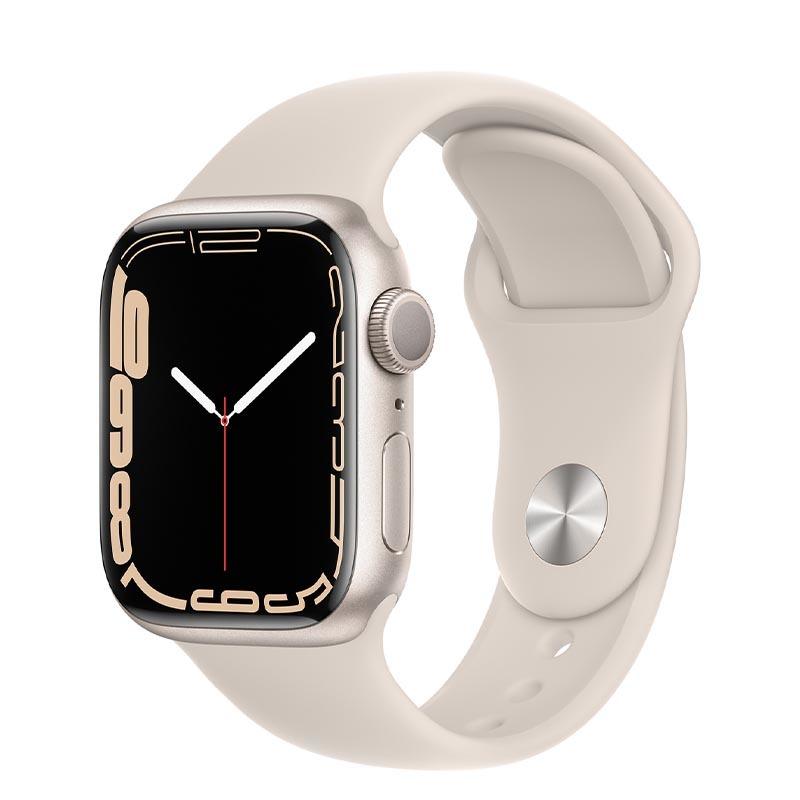 Apple Watch Series 7, GPS, 41 мм, корпус из алюминия цвета «сияющая звезда», спортивный ремешок «сияющая звезда»