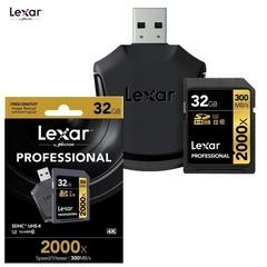 Карта памяти Lexar Pro 32GB 2000x UHS-II SDXC 300МБ/с с ридером U3, Class 10)