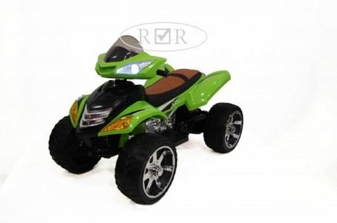 Электроквадроцикл Rivertoys E005KX-A зеленый кожа+надувные колеса