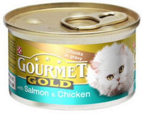 Gourmet Кусочки в соусе Gourmet Gold с курицей и лососем для кошек 85 г