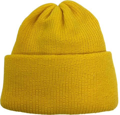 Желтая шапочка бини с отворотом