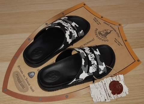 "VELIKOROSS slippers ""Russian trace"" Black and White Granite"