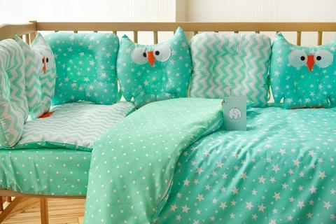 Комплект постельного белья для новорождённых Совушки 9-01 Унисекс 60х120 см мята-мята