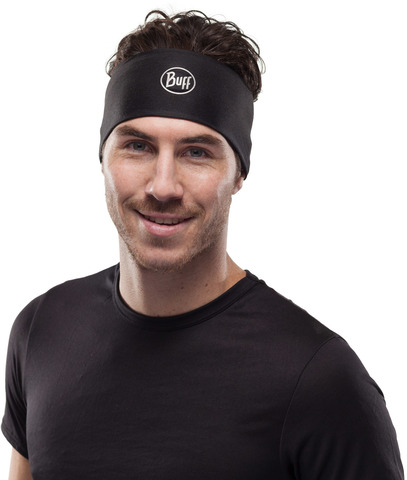 Повязка на голову спортивная Buff Headband CoolNet Solid Black фото 2