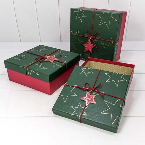 Коробка Звезды, Красный/Темно-зеленый, 24*24*12 см