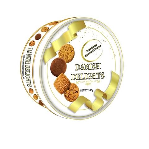 DANISH DELIGHTS Assorted  Cookies Печенье Ассорти, Жестяная банка 1кор*12бл*1шт  340гр