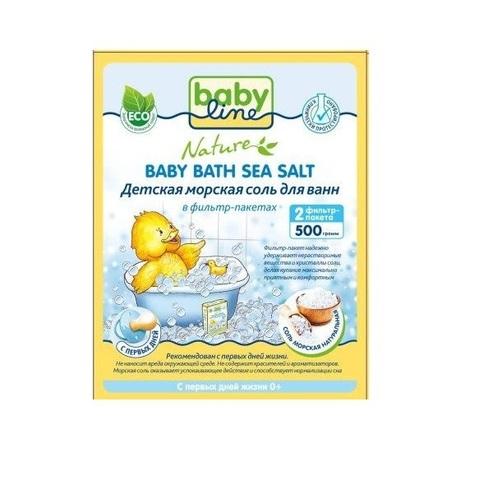 BABYLINE NATURE. Детская морская соль для ванн 500 г натуральная в фильтр-пакетах