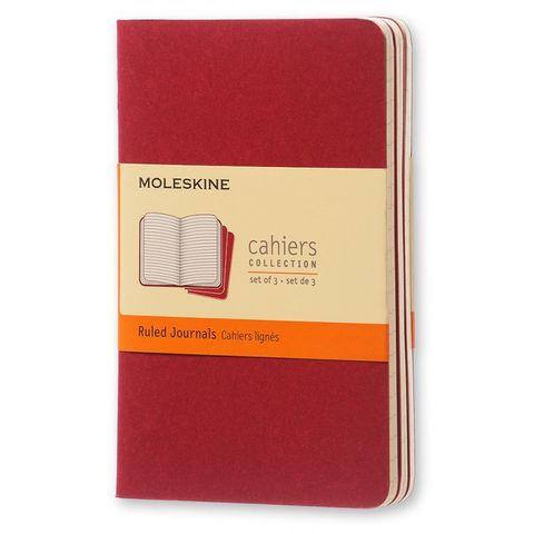 Блокнот Moleskine CAHIER JOURNAL CH111 Pocket 90x140мм обложка картон 64стр. линейка клюквенный (3шт)