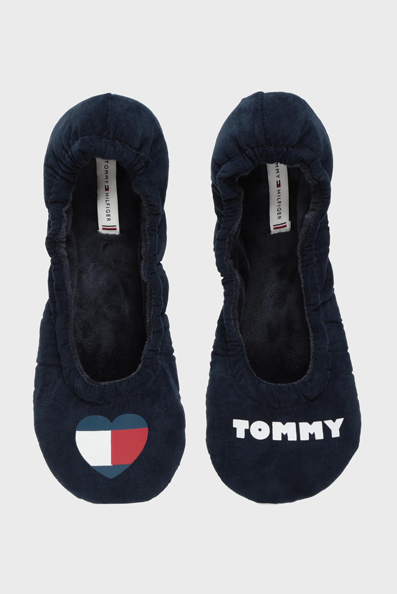 Женские темно-синие вельветовые домашние тапочки TOMMY HEART TRAVEL PACK Tommy Hilfiger