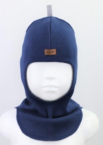 Шапка-шлем, темно-синий 100% шерсть