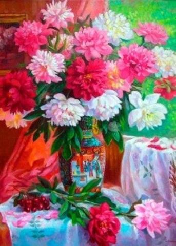 Алмазная Мозаика 38х28 Розовые пионы в вазе (арт. K1697 )