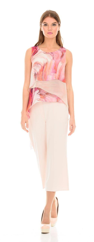 Блуза Г553-148 - Многослойная блуза из вискозного шифона с удлиненной спинкой. В этой блузе вы будете неотразимы на любом праздничном мероприятии.