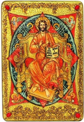 Инкрустированная большая икона Спас в Силах 42х29см на натуральном дереве в подарочной коробке