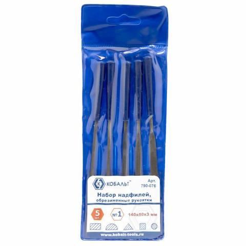 Набор надфилей КОБАЛЬТ № 1, 140х 50х3 мм, обрезиненные рукоятки (5 шт.) чехол (790-076)