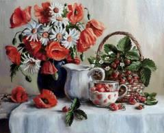 Алмазная Мозаика 40x50 Натюрморт с ягодами, маками и ромашками