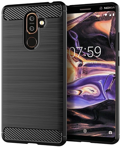 Чехол Nokia 7 Plus цвет Black (черный), серия Carbon, Caseport