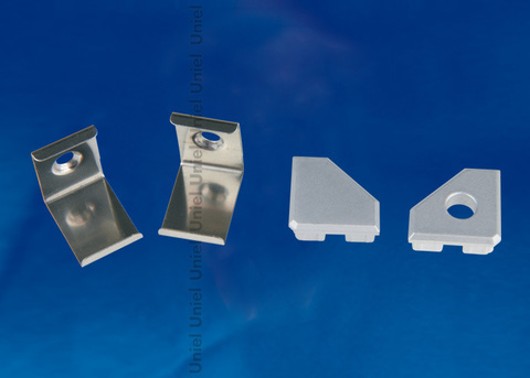 UFE-N03 SILVER A POLYBAG Набор аксессуаров для алюминиевого профиля. Крепежные скобы (4 шт., сталь) и заглушки (4 шт., пластик). Цвет серебро. ТМ Uniel.
