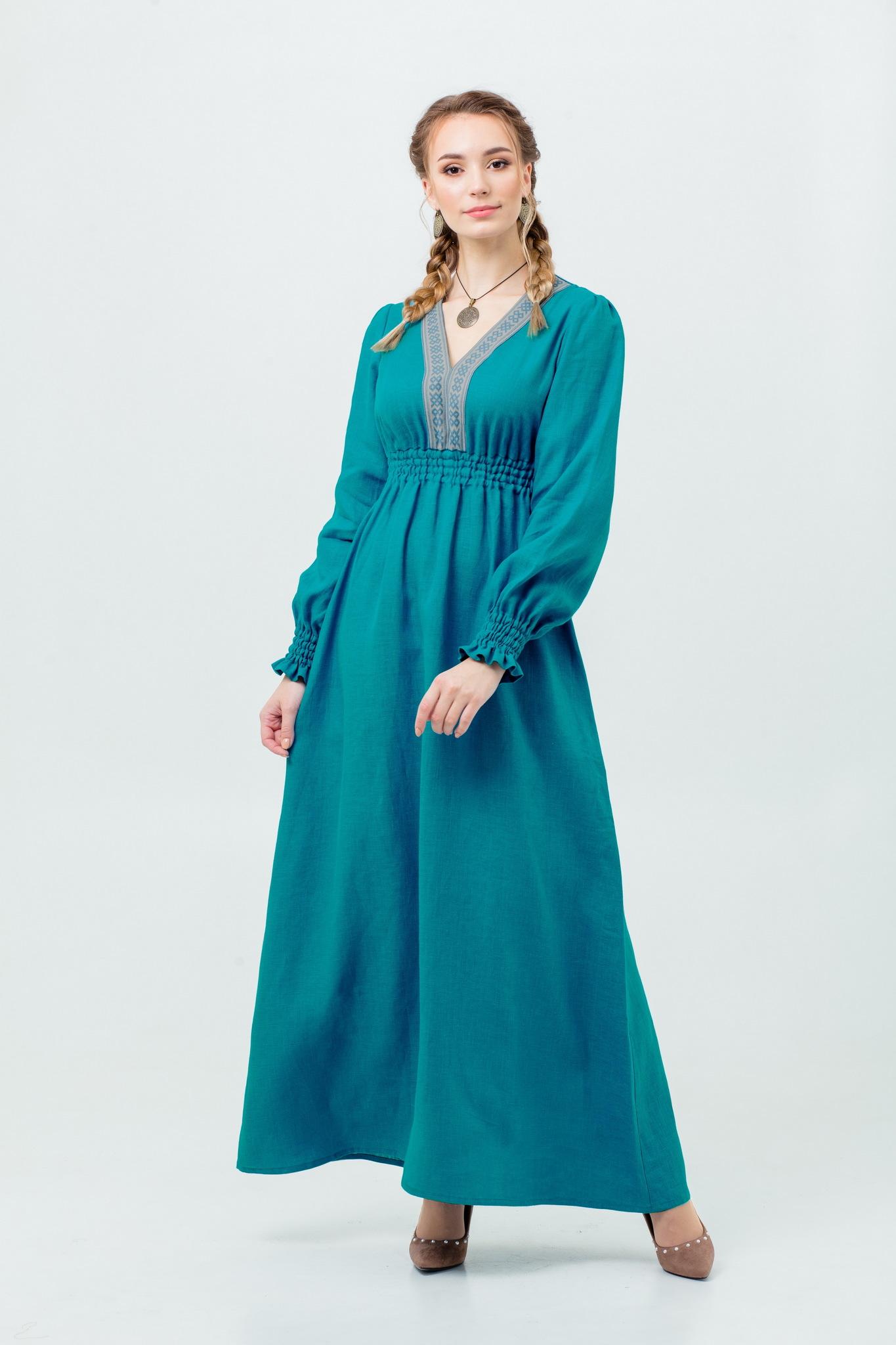 Платье льняное Лунный свет в русском стиле