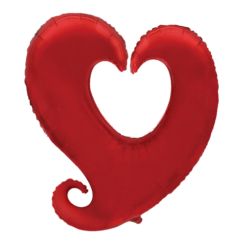 Шар-сердце витое красный, 81 см