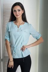Джемма. Блуза больших размеров с пояском, рукав 3/4. Мята