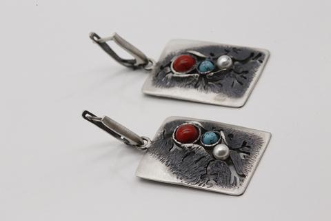 Серьги из серебра 925 пробы с миксом из поделочных камней