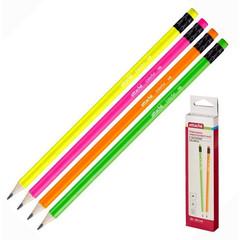 Карандаш чернографитный Attache Colorful НВ заточенный с ластиком