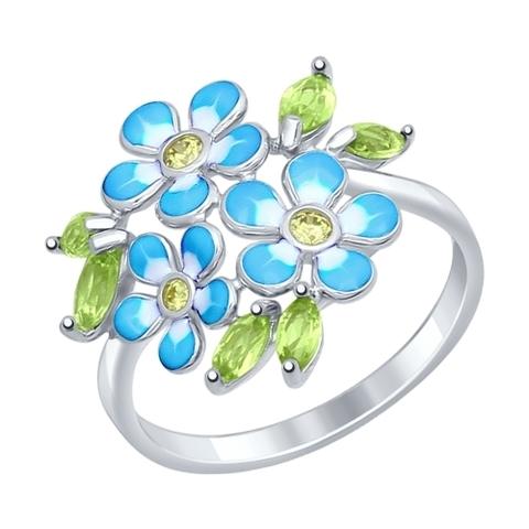 92011321 - Кольцо из серебра с хризолитами