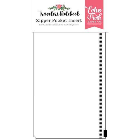 Конверт с кармашками на зип-замке  Echo Park Traveler's Notebook Insert Zipper Pocket -11,4х21 см