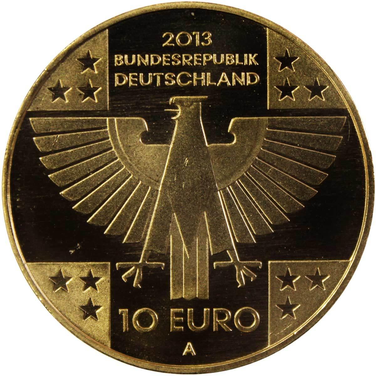 10 евро. 150 лет Красному Кресту (А). Германия. Медноникель с позолотой. 2013 год