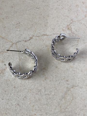 Серьги Дриадина с цирконами, серебряный цвет