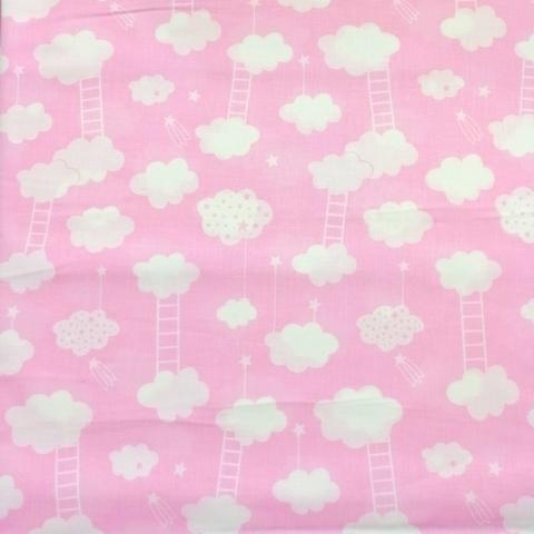 Ткань хлопковая  облачка с лесенкой на розовом, отрез 50*80 см