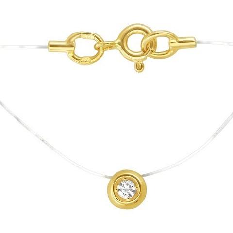 01Л131582- Бегунок с фианитом  из желтого золота на леске невидимке с золотыми замочками