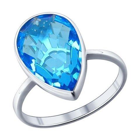 94011521- Кольцо из серебра с голубой стеклянной вставкой