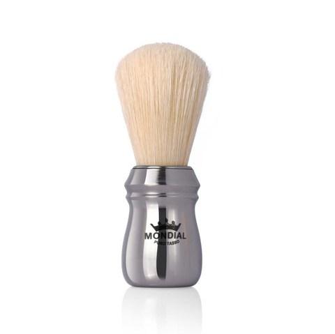 Помазок для бритья Mondial, пластик, свиной ворс, рукоять - цвет серебристый