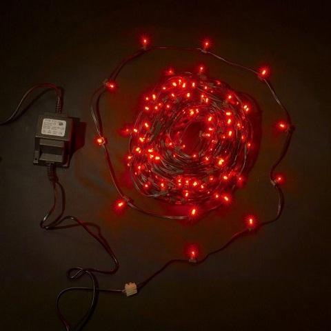 Клип лайт Красный, комплект с трансформатором, 30 метров, IP65, темный провод