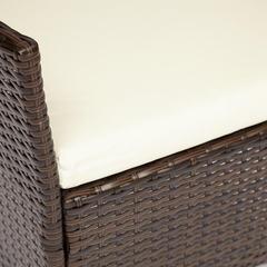 Стул (mod. 210036) пластиковый ротанг, коричневый, ткань: DB-02 бежевый