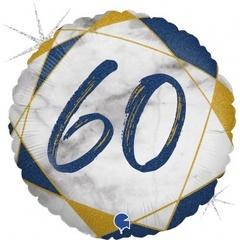 Г Круг 60 Цифра, Мрамор Синий, Голография, 18