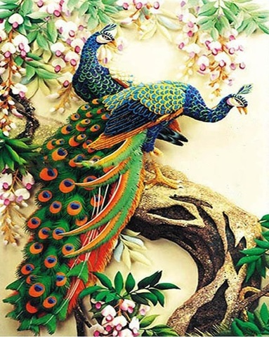 Алмазная Мозаика 30x40 Два павлина на стволе дерева (арт. X157 )