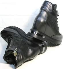 Купить кожаные сникерсы на танкетке Evromoda 965 Black