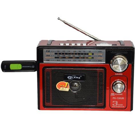 Радиоприемник PuXing PX-158UR, AUX/MP3/FM/microSD/SD/USB, 220V только зарядка, (2xR20)