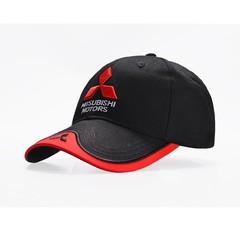 Кепка с вышитым логотипом Митсубиси Моторс (Бейсболка Mitsubishi Motors) черная