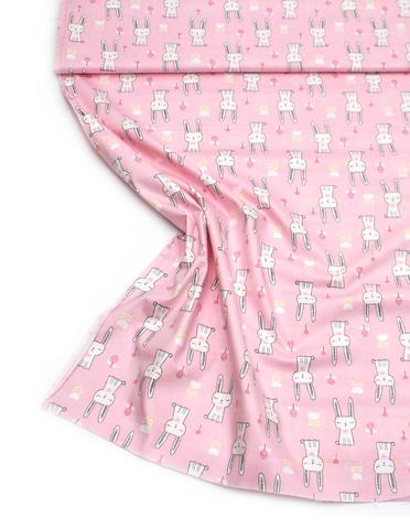 Зайки, розовый фон