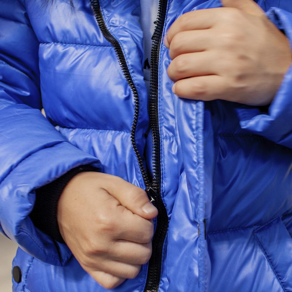Підліткова зимова куртка з натуральної опушки синього кольору на хлопчика