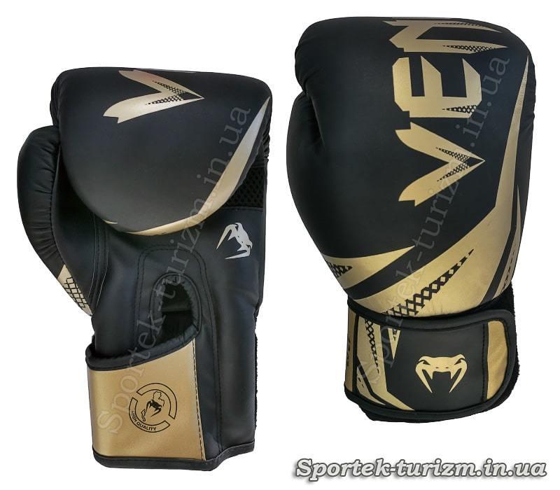 Рукавички для боксу та кікбоксингу на липучці VENUM 12 oz (BO-0866) чорний-золото