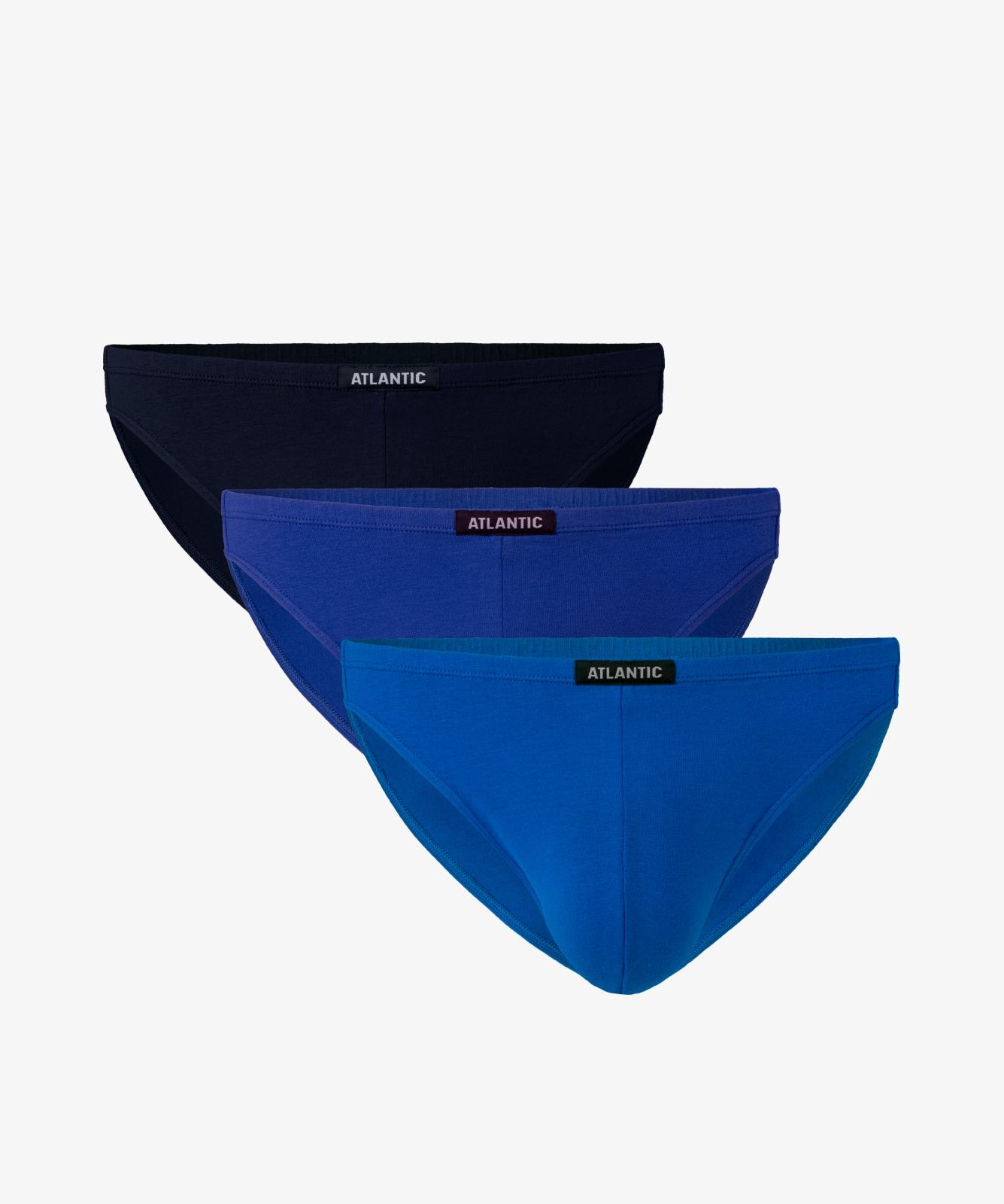 Мужские трусы слипы мини Atlantic, набор 3 шт., хлопок, темно-синие + голубые + синие, 3SMP-002